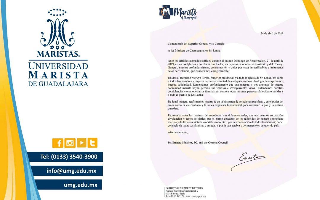 Comunicado del Hermano Superior General, hechos ocurridos en Sri Lanka.