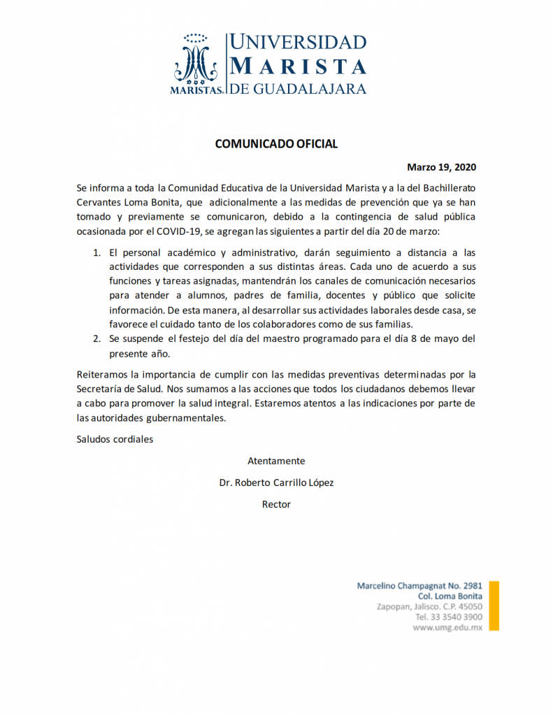 SEGUNDO COMUNICADO OFICIAL COVID-19